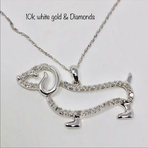 🆕 Diamonds/10K white gold Dachshund necklace